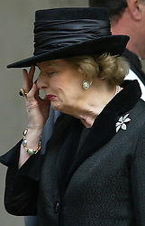 Lady Thatcher  at a memorial service for her husband Dennis in London in 2003.  Photo by: Stephen Lock / i-Images