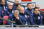 England manager, Roy Hodgson and England coach Gary Neville looking on during the Friendly International match between England and Portugal at Wembley Stadium, London, England on 2 June 2016. Photo by Matthew Redman.