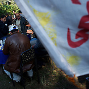 Muslim Brotherhood sympathizers campaign outside a polling station at Masr El Gdeeda district in Cairo.
