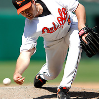 01 July 2007:  Baltimore Orioles pitcher Chad Bradford (53) pitches in the 9th inning against the Los Angeles Angels.  Bradford pitched 2/3 of an inning without giving up a hit as the Angels defeated the Orioles 4-3 at Camden Yards in Baltimore, MD.   ****For Editorial Use Only****