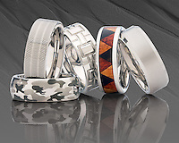 Wedding bands made of Vitalium, some with exotic wood inlays