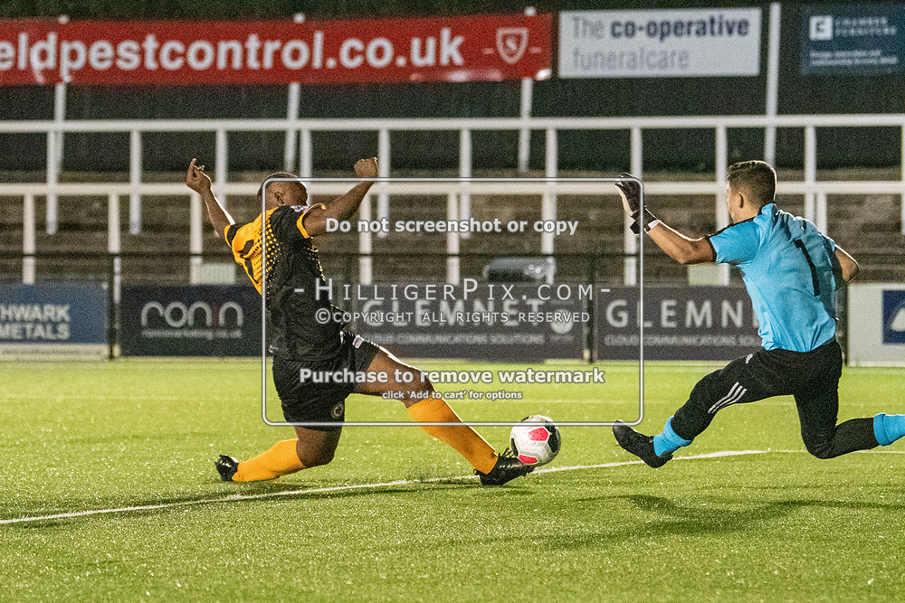 BROMLEY, UK - SEPTEMBER 04: Leslie Ariku, of Cray Wanderers FC, puts Cray Wanderers ahead in the first half of extra time during the FA Youth Cup Preliminary Round match between Cray Wanderers FC and VCD Athletic at Hayes Lane on September 4, 2019 in Bromley, UK. <br /> (Photo: Jon Hilliger)