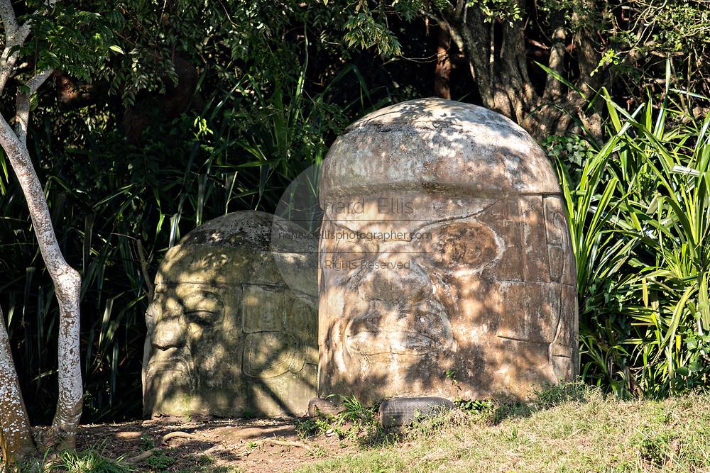 Imitation giant Olmec stone heads made for the Mel Gibson movie Apocalypto at Reserva Ecologica de Nanciyaga on Lake Catemaco, Veracruz, Mexico.