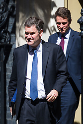 Justice Secretary David Gauke followed by Defence Secretary Gavin Williamson leaves the weekly UK cabinet meeting at 10 Downing Street in London, May 01 2018.