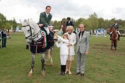 Breen Shane (IRL) - Carmena Z<br /> Winner of the Grand Prix congratulated by organizer Peter Postelmans and his wife Karin.<br /> CSIO Lummen 2010<br /> © Dirk Caremans