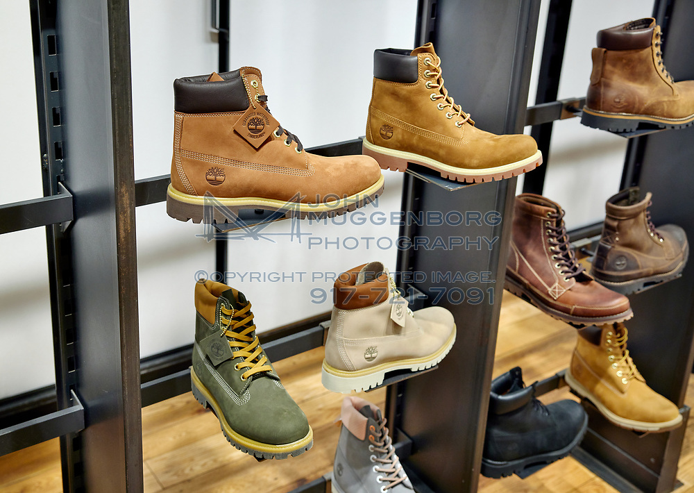 The Timberland retail experience at Hudson Square in NYC. ©Photograph by John Muggenborg. <br /> <br /> http://www.johnmuggenborg.com