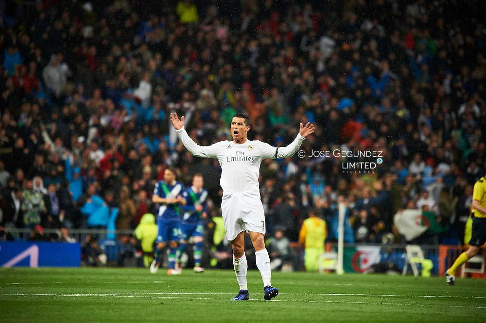 Gareth Bale (midfielder; Real Madrid) in action during the UEFA Champions League quarter-final second leg football match between Real Madrid vs Wolfsburg at Santiago Bernabeu on April 12, 2016 in Madrid