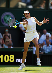 Garbine Muguruza during her match against Naomi Broady on day two of the Wimbledon Championships at the All England Lawn Tennis and Croquet Club, Wimbledon.