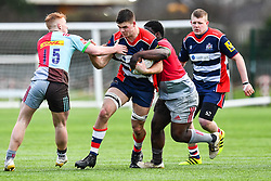 George Brazier of Bristol Academy U18 is tackled by Aristot Benz-Salomon of Harlequins Academy U18 - Mandatory by-line: Craig Thomas/JMP - 03/02/2018 - RUGBY - SGS Wise Campus - Bristol, England - Bristol U18 v Harlequins U18 - Premiership U18 League