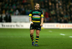 Northampton Saints' Dylan Hartley during the Aviva Premiership match at Franklin's Gardens, Northampton. PRESS ASSOCIATION Photo. Picture date: Saturday December 23, 2017. See PA story RUGBYU Northampton. Photo credit should read: Paul Harding/PA Wire. RESTRICTIONS: Editorial use only. No commercial use.