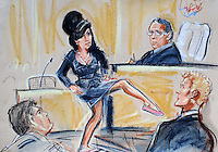 ARTWORK SHOWS: Singer Amy Winehouse showing judge her shoes to prove she was so small, she couldn;t appear intimidating. At City of London Magistrates Court, where she was acquitted of assault after being accused of hitting a fan when she requested a photograph with her. 24/07/2009