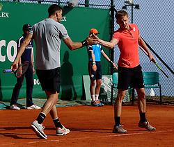 April 18, 2018 - Liege, Monaco - Tennis - ATP- Monaco - Monte Carlo, Monte  Carlo country club, Rolex Monte - Carlo Masters 2018, 18 avril 2018..Le double David Goffin (BEL)/Grigor Dimitrov (BUL) vainqueurs en 1/8 de finale des têtes de série n° 8 Ivan Dodig (CRO)/ Rajeev Ram (USA) au Monte Carlo country club de Monaco à l'occasion du Rolex Monte Carlo masters 2018. (Credit Image: © Panoramic via ZUMA Press)