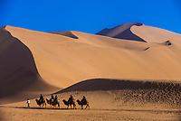 A camel caravan, Singing Sand Mountain (sand dunes) along the Silk Road, Dunhuang, Gansu Province, northwestern China, at the edge of the Gobi Desert.