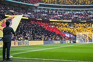 Opening scenes at the Watford end of the stadium ahead of the FA Cup semi-final match between Watford and Wolverhampton Wanderers at Wembley Stadium in London, England on 7 April 2019.