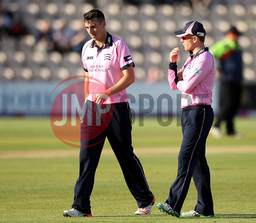Middlesex's Eoin Morgan chats to Middlesex's Toby Roland-Jones - Photo mandatory by-line: Robbie Stephenson/JMP - Mobile: 07966 386802 - 04/06/2015 - SPORT - Cricket - Southampton - The Ageas Bowl - Hampshire v Middlesex - Natwest T20 Blast