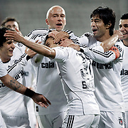 Besiktas's Simao SABROSA (F) celebrate his goal with team mate during their Turkey Cup semi final soccer firsth match Besiktas between Gaziantepspor at the Inonu stadium in Istanbul Turkey on Wednesday 06 April 2011. Photo by TURKPIX