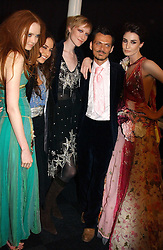 Left to right, LILY COLE, ELIZABETH JAGGER, JADE PARFITT, MATTHEW WILLIAMSON and ERIN O'CONNOR at the Moet & Chandon Fashion Tribute 2005 to Matthew Williamson, held at Old Billingsgate, City of London on 16th February 2005.<br /><br />NON EXCLUSIVE - WORLD RIGHTS