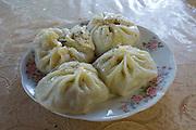 Uzbekistan, Samarqand.<br /> Labi G'or (Lyabi Gor) restaurant. Manty (steamed dumplings).