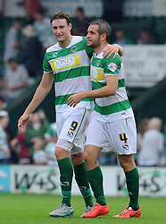 Ryan Bird of Yeovil Town and Matthew Dolan of Yeovil Town celebrate victory - Photo mandatory by-line: Harry Trump/JMP - Mobile: 07966 386802 - 22/08/15 - SPORT - FOOTBALL - Sky Bet League Two - Yeovil Town v Luton Town - Huish Park, Yeovil, England.