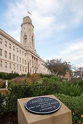 Remembrance Sunday Barnsley Marks the Centenary of the out break of World War I - Barnsley Pals Centenary Square Memorial outside Barnsley Town Hall<br /> <br /> 09 November 2014<br /> <br /> Image © Paul David Drabble <br /> <br /> www.pauldaviddrabble.co.uk