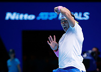 Tennis - 2019 Nitto ATP Finals at The O2 - Day Six<br /> <br /> Singles Group Andre Agassi: Rafael Nadal (Spain) Vs. Stefanos Tsitsipas (Greece)<br /> <br /> Rafael Nadal (Spain) with the follow through from a forehand <br /> <br /> COLORSPORT/DANIEL BEARHAM<br /> <br /> COLORSPORT/DANIEL BEARHAM