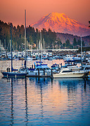 Evening at the harbor in Gig Harbor, WA.  Mount Rainier looming in the background.  Taken from N Harborview Dr.
