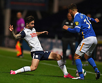 Preston North End's Sean Maguire battles with Brighton & Hove Albion's Joel Veltman<br /> <br /> Photographer Dave Howarth/CameraSport<br /> <br /> The Carabao Cup Third Round - Preston North End v Brighton and Hove Albion - Wednesday 23rd September 2020 - Deepdale - Preston<br />  <br /> World Copyright © 2020 CameraSport. All rights reserved. 43 Linden Ave. Countesthorpe. Leicester. England. LE8 5PG - Tel: +44 (0) 116 277 4147 - admin@camerasport.com - www.camerasport.com