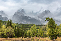 A parting of the clouds, a stormy day in Grand Teton National Park.