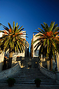 Korcula old town's Sea Gate (Primorska Vrata) and Palm trees, late afternoon sunlight. Korcula old town, island of Korcula, Croatia