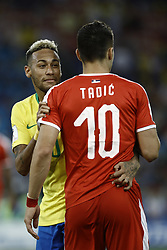 June 27, 2018 - Moscow, Russia - Neymar, Dusan Tasic during the 2018 FIFA World Cup Russia group E match between Serbia and Brazil at Spartak Stadium on June 27, 2018 in Moscow, Russia. (Credit Image: © Mehdi Taamallah/NurPhoto via ZUMA Press)