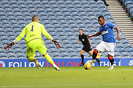 Alfredo Morelos (Rangers) is denied by Benjamin Siegrist (Dundee United) during the Scottish Premiership match between Rangers and Dundee United at Ibrox, Glasgow, Scotland on 12 September 2020.