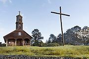 Cross by Church of Vilupulli on Chiloe Island, Chile
