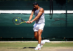 Rafael Nadal during a practice session on day one of the Wimbledon Championships at the All England Lawn Tennis and Croquet Club, Wimbledon.