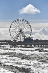 A view of the sea and pier off Blackpool ahead of the game
