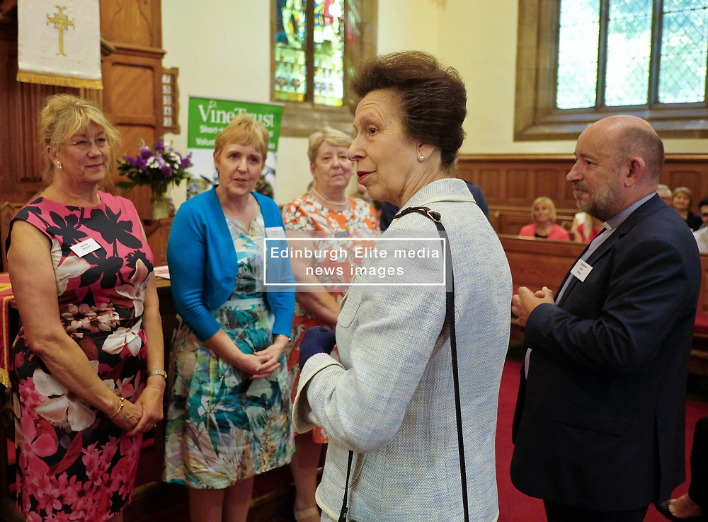 ** Exclusive **<br /> <br /> Princess Royal visits Kirk of Calder, Thursday 25th May 2017<br /> <br /> The Princess Royal visited Kirk of Calder in Mid Calder, Livingston today to accept a cheque on behalf of The Vine Trust.<br /> <br /> The Princess Royal meets members of the organising committee<br /> <br /> £85,500 has been raised by members and organisations of the kirk to help fund an orphanage in Tanzania.<br /> <br /> There was an increased police presence due to the recent Manchester bombing.<br /> <br /> (c) Alex Todd   Edinburgh Elite media