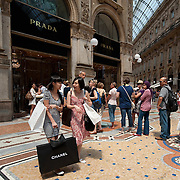 MILAN, ITALY - JULY 03:  Shoppers on the first day of the Summer Sales in the elegant Galleria Vittorio Emanuele II in the centre of Milan on July 3, 2010 in Milan, Italy. Milan's summer sales start today. .***Agreed Fee's Apply To All Image Use***.Marco Secchi /Xianpix. tel +44 (0) 207 1939846. e-mail ms@msecchi.com .www.marcosecchi.com