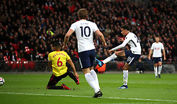 Tottenham Hotspur's Dele Alli scores his side's first goal of the game during the Premier League match at Wembley Stadium. London.