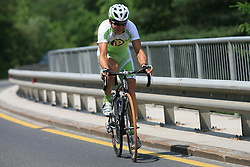 Kristjan Fajt of Slovenia (Perutnina Ptuj) escaped very soon after the beginning, but his was caught 32 km to the finish line at 1st stage of the 15th Tour de Slovenie from Ljubljana to Postojna (161 km) , on June 11,2008, Slovenia. (Photo by Vid Ponikvar / Sportal Images)/ Sportida)