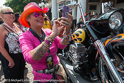 Diva Amy before the start of the Legends Ride from Deadwood during the 75th Annual Sturgis Black Hills Motorcycle Rally.  SD, USA.  August 3, 2015.  Photography ©2015 Michael Lichter.