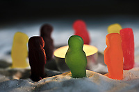 Jelly babies 'keep warm' at a brazier in the snow. Also known as 'Winter of Discontent'