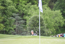 May 5, 2018 - Charlotte, NC, U.S. - CHARLOTTE, NC - MAY 05: Beau Hossler chips from the sand during the 3rd round of the Wells Fargo Championship on May 05, 2018 at Quail Hollow Club in Charlotte, NC. (Photo by William Howard/Icon Sportswire) (Credit Image: © William Howard/Icon SMI via ZUMA Press)