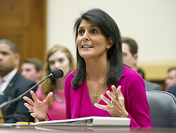 June 28, 2017 - Washington, District of Columbia, U.S. - United States Ambassador to the United Nations NIKKI HALEY gives testimony before the US House Foreign Affairs Committee on 'Advancing US Interests at the United Nations' on Capitol Hill. (Credit Image: © Ron Sachs/CNP via ZUMA Wire)