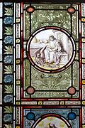 Flemish images in stained glass window church of Saint John, Saxmundham, Suffolk, England, UK - Saint John the Baptist