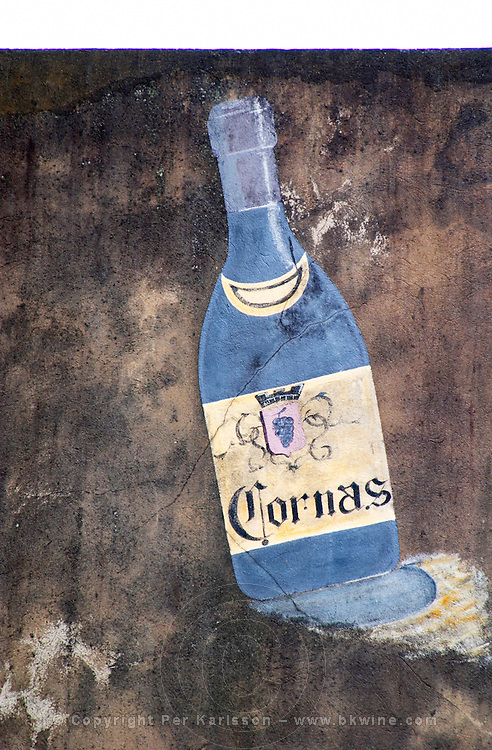 Wall painting of a bottle of Cornas. Alain Voge, Cornas, Ardeche, Ardèche, France, Europe