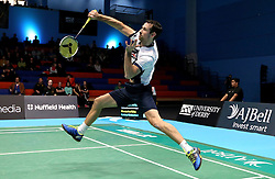 Richard Eidestedt of Bristol Jets plays a smash shot - Photo mandatory by-line: Robbie Stephenson/JMP - 07/11/2016 - BADMINTON - University of Derby - Derby, England - Team Derby v Bristol Jets - AJ Bell National Badminton League