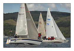Sailing - The 2007 Bell Lawrie Scottish Series hosted by the Clyde Cruising Club, Tarbert, Loch Fyne..The third days racing on Loch Fyne with a mix of weather from the North and West...CYCA 8 GBR 40 Hopscotch and GBR5271Y Pointer