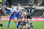 Hull FC scrum half Marc Sneyd (7) appeals to the referee  during the Betfred Super League match between Hull FC and St Helens RFC at Kingston Communications Stadium, Hull, United Kingdom on 16 February 2020.