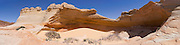 """Panoramic view of """"The Alcove,"""" a sandstone blowout above """"The Wave,"""" North Coyote Buttes, Vermillion Cliffs National Monument, Arizona."""