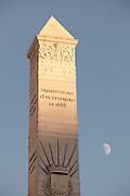 Obelisk statue at Praca dos Restauradores, in the centre of Lisbon, Portugal