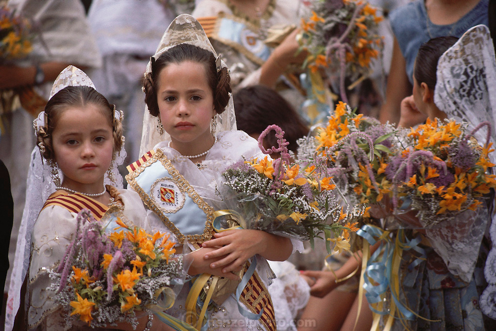 Flower offering to the Christ of life in Masanassa, Valencia, Spain.